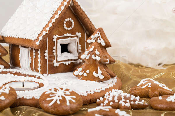 Holiday Gingerbread house on white. Stock photo © artush