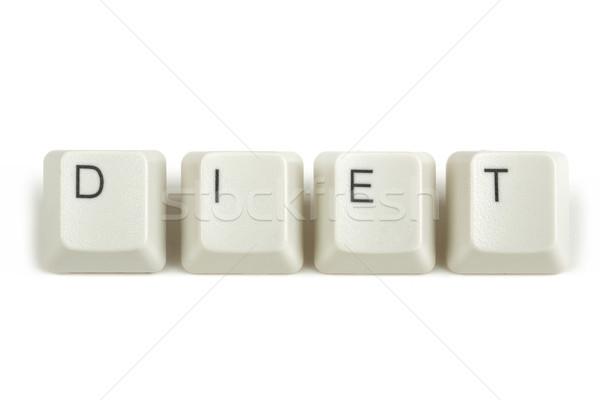 Diéta billentyűzet kulcsok fehér szöveg izolált Stock fotó © artush