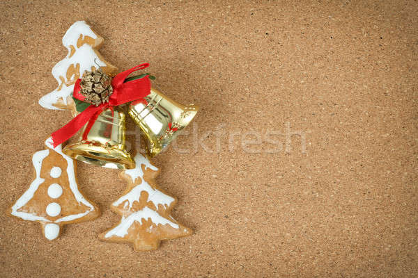 corcboard with ginger bread and christmas bells Stock photo © artush