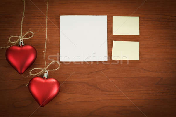 wooden board with notes for valentine message Stock photo © artush