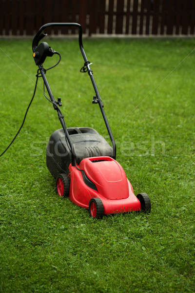 red lawnmower on green grass Stock photo © artush