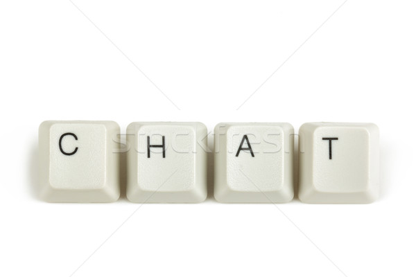 chat from scattered keyboard keys on white Stock photo © artush