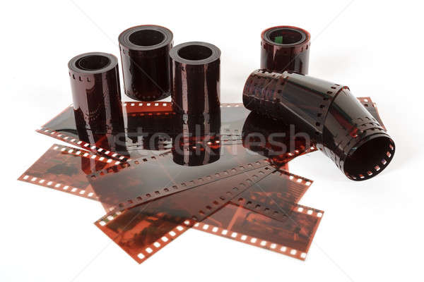 Close up image of an old 35 mm negative film strip Stock photo © artush
