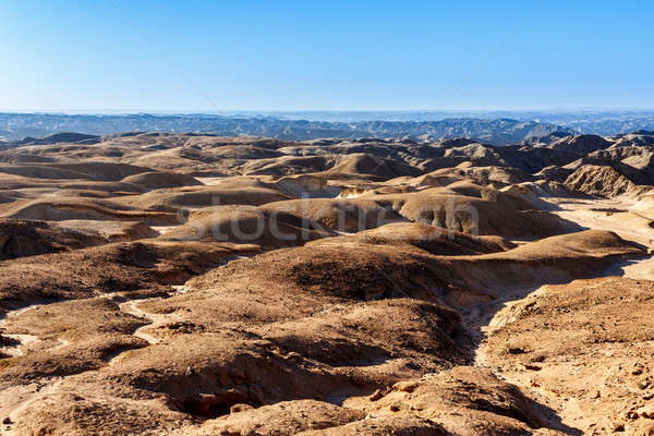 Stock photo: panorama of fantrastic Namibia moonscape landscape
