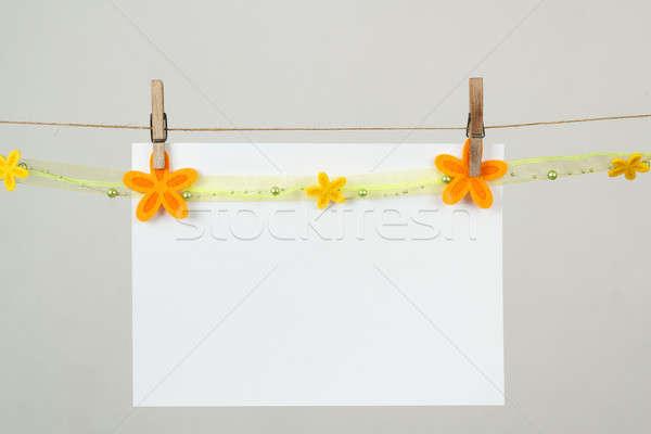 Emlék levélpapír virágok akasztás kábel zöld Stock fotó © artush
