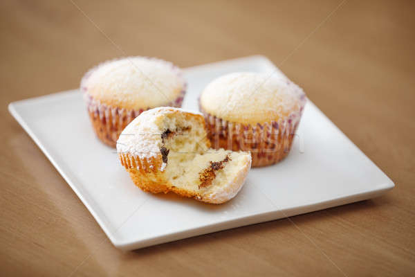Friss házi készítésű muffin fa asztal három fehér Stock fotó © artush