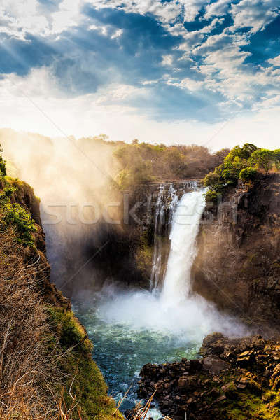 The Victoria falls with dramatic sky Stock photo © artush