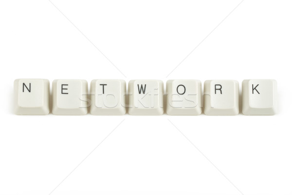 Red teclado claves blanco texto aislado Foto stock © artush