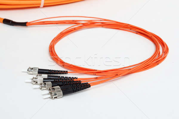 orange fiber optic ST connector patchcord Stock photo © artush
