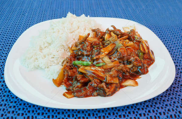 chinesse lunch with fried beef bamboo shoots and rice  Stock photo © artush