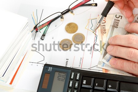 changing impossible word to possible, calculator, charts, pen in hand, money, workplace businessman Stock photo © artush