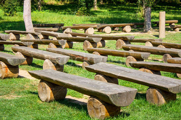 outdoor wood benches on green lawn Stock photo © artush