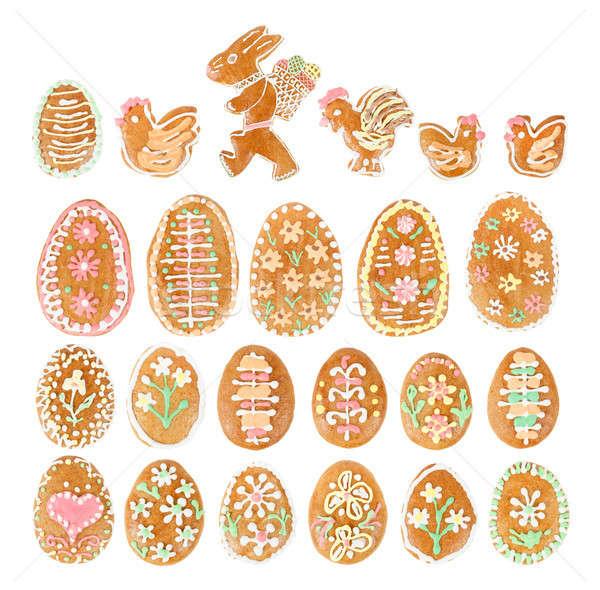 collection of easter egg ginger bread on white Stock photo © artush