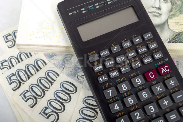 Cseh pénz bankjegyek számológép pénzügy siker Stock fotó © artush
