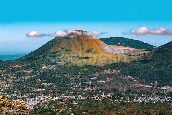 Vulkán Indonézia kilátás sziget pici kráter Stock fotó © artush