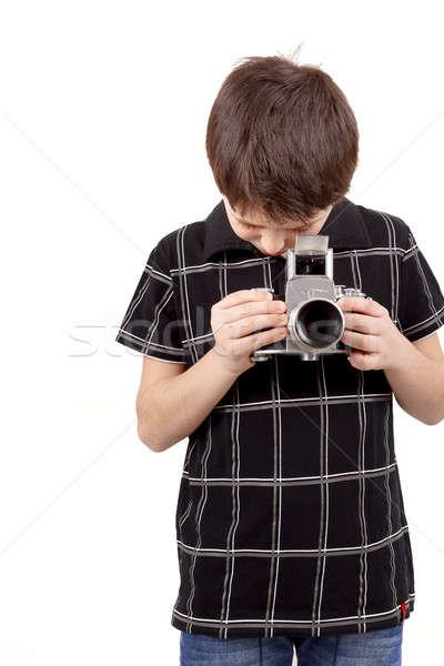 young boy with old vintage analog SLR camera Stock photo © artush