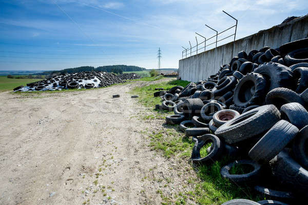Pile of old tires in farm Stock photo © artush