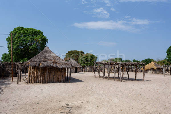 Hagyományos afrikai falu házak fából készült kerítés Stock fotó © artush