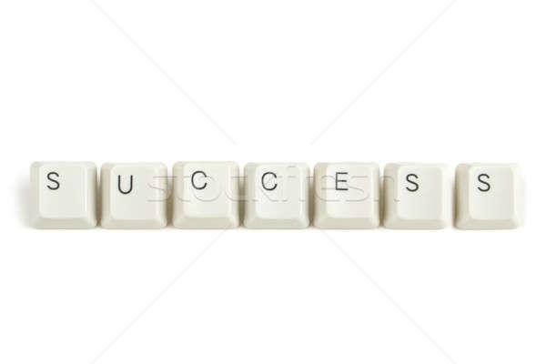 éxito teclado claves blanco texto aislado Foto stock © artush