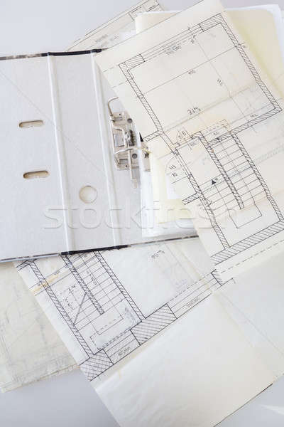 Stock photo: Architectural plans of the old paper and file with the project