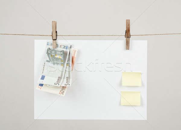 Emlék levélpapír Euro akasztás kábel iroda Stock fotó © artush