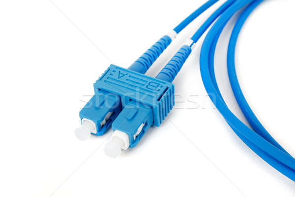 blue fiber optic duplex SC connector patchcord Stock photo © artush