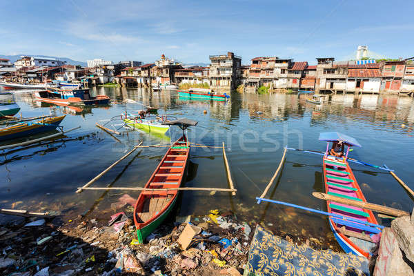 poor houses by the river in shantytown Stock photo © artush