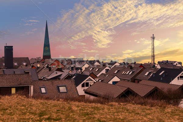 Residencial puesta de sol superior vista techo tradicional Foto stock © artush
