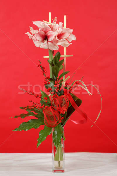 bouquet of pink lily flower on red Stock photo © artush