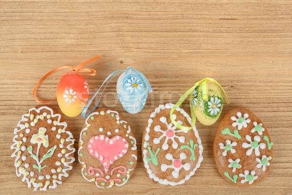 Húsvét gyömbér színes tojás fából készült tavasz fa Stock fotó © artush