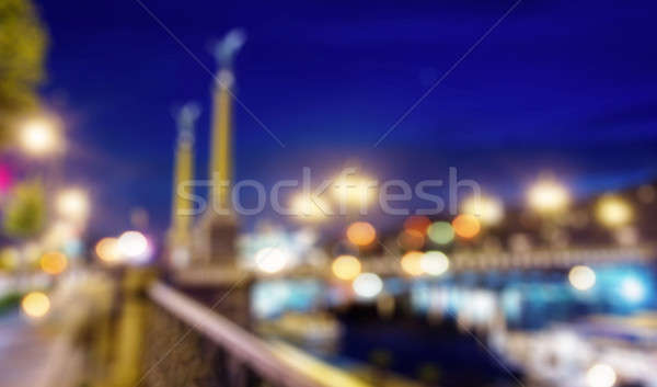 Stock photo: Blured lights from night Prague