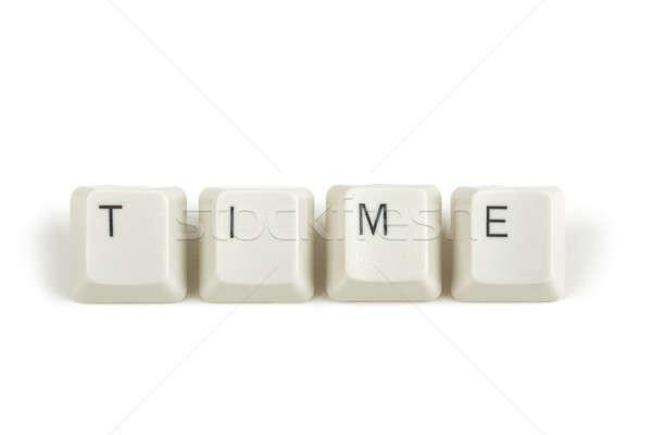 Tiempo teclado claves blanco texto aislado Foto stock © artush