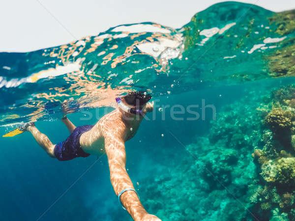 Búvárpipa sekély víz Vörös-tenger Egyiptom vízalatti Stock fotó © artush