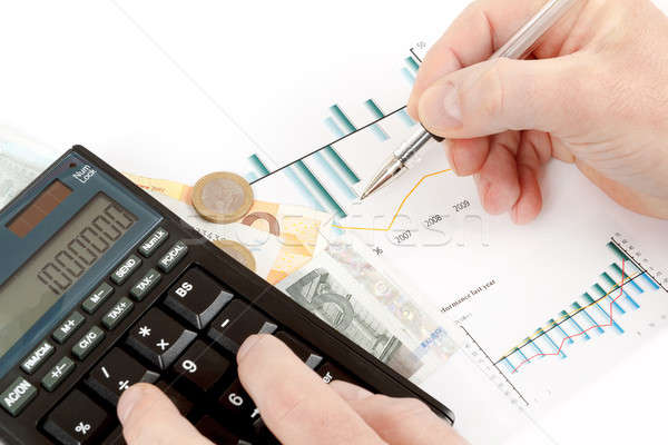 Számológép táblázatok toll kéz névjegyek pénz Stock fotó © artush