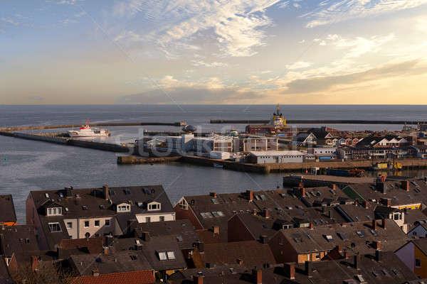 helgoland city harbor from hill Stock photo © artush