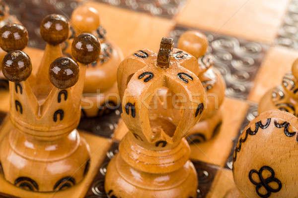 Schachbrett Schwerpunkt weiß König Königin Stock foto © artush