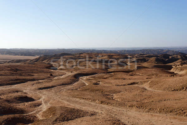 Stock photo: panorama of fantrastic Namibia moonscape landscape