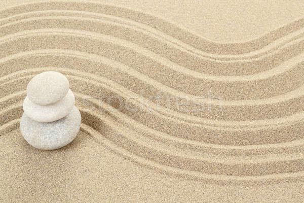 Egyensúly zen kövek homok három absztrakt Stock fotó © artush