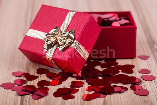Stock photo: Red hearts confetti in box valentine love concept