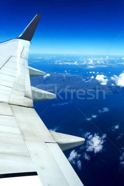 Aeronaves ala cielo azul celestial escena vuelo Foto stock © artush