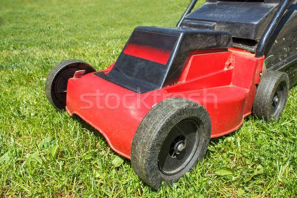 Kosiarka trawy szczegół zielona trawa wiosną Zdjęcia stock © artush