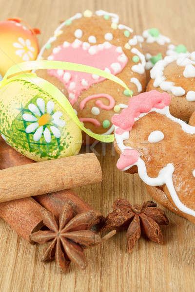 Húsvét színes tojás fából készült fa terv zöld Stock fotó © artush