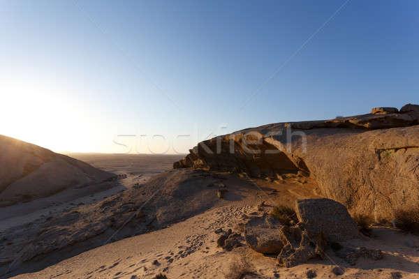 Stok fotoğraf: Kaya · oluşumu · çöl · gün · batımı · manzara · Namibya · Afrika