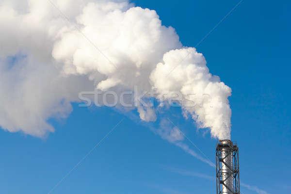 Dymu na zewnątrz komin biały niebo krajobraz Zdjęcia stock © artush