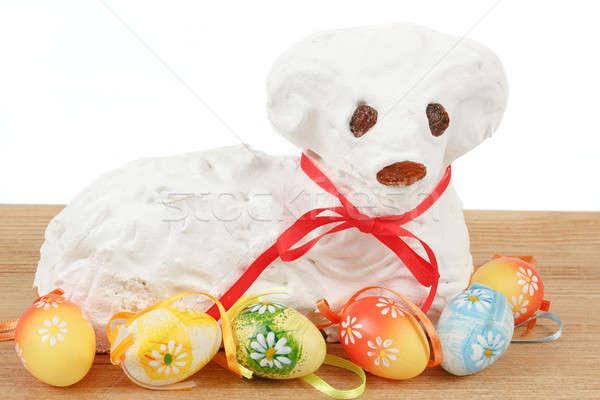 Branco páscoa cordeiro pintado ovos comida Foto stock © artush