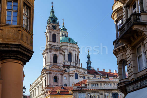 Houses and Saint Nicholas Church in Lesser Town, Prague Stock photo © artush