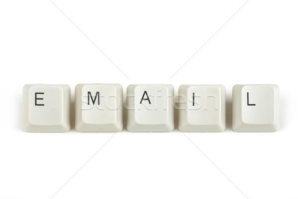 E-mail toetsenbord sleutels witte tekst geïsoleerd Stockfoto © artush