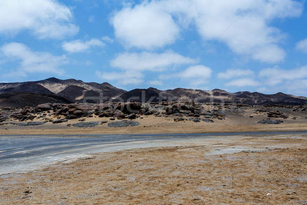 Rock formation in Namib with blue sky Stock photo © artush