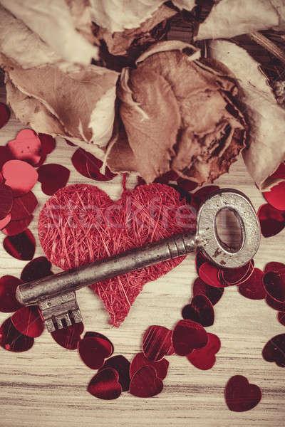 Key with the heart, symbol of love Stock photo © artush