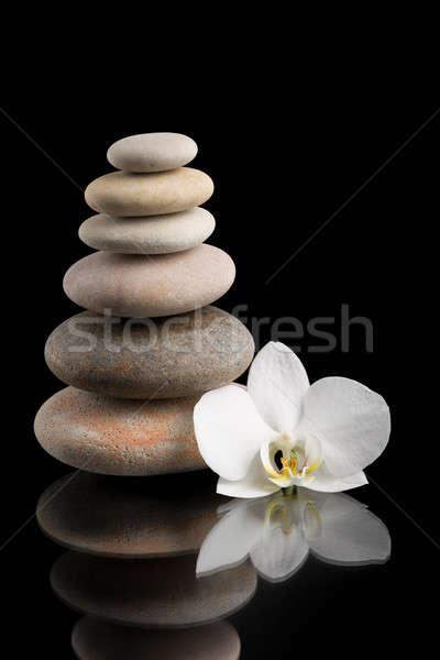 balancing zen stones on black with white flower Stock photo © artush
